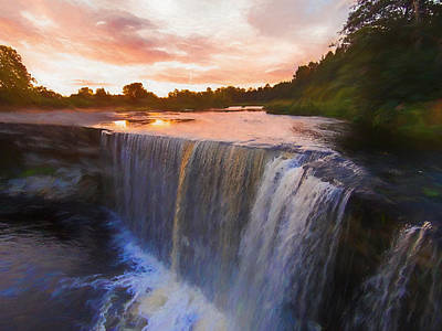 Painting - Waterfall Sunset by Emily Smith