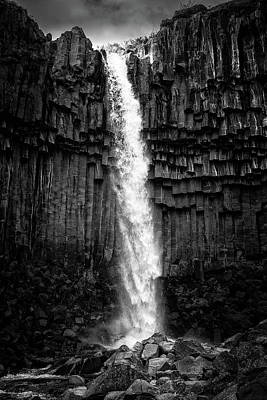 Photograph - Waterfall Svartifoss Iceland Black And White by Matthias Hauser