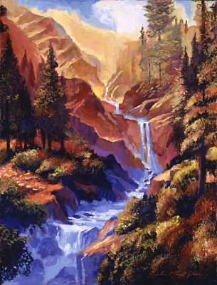 Waterfalls Painting - Waterfall Symphony by David Lloyd Glover