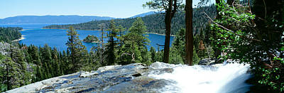 Emerald Bay Photograph - Waterfall With A Lake by Panoramic Images