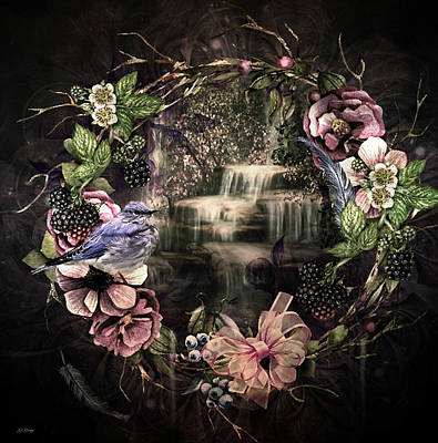 Blueberry Mixed Media - Waterfall Wreath by G Berry