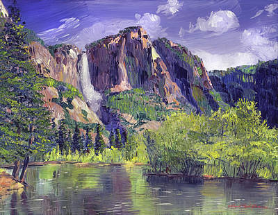 Yosemite Painting - Waterfall Yosemite by David Lloyd Glover