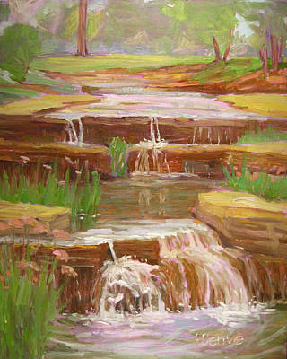 Waterfalls At Franklin Park Art Print by Robie Benve