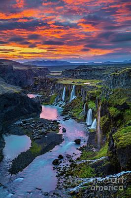 Reflective Photograph - Waterfalls Canyon by Inge Johnsson