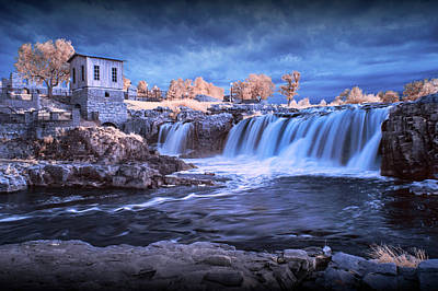 Photograph - Waterfalls In Infrared At Falls Park In Sioux Falls South Dakota by Randall Nyhof