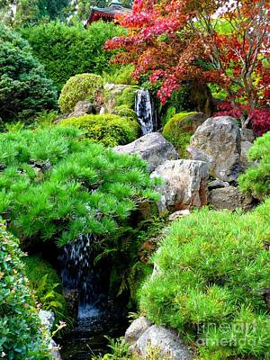Red Leaves Photograph - Waterfalls In Japanese Garden by Carol Groenen