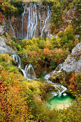 Waterfalls In Plitvice Lakes National Park Art Print