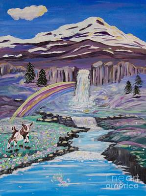 Painting - Waterfalls Rainbows And A Silly Goat by Phyllis Kaltenbach