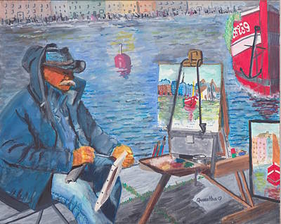 Painting - Waterfront Artist by Quwatha Valentine