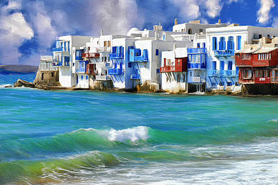 Waterfront At Mykonos Art Print by Dominic Piperata