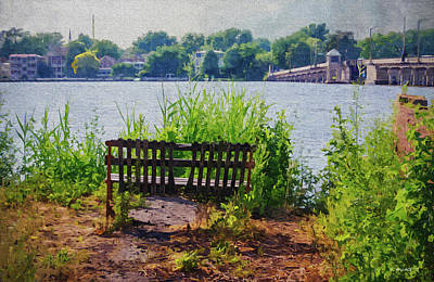 Photograph - Waterfront Bench - Paint Fx by Brian Wallace