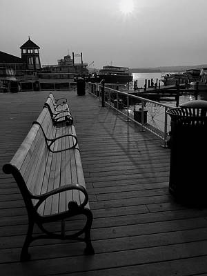 Waterfront Benches II Art Print