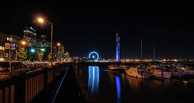 Photograph - Waterfront Night Sight Lights by Ken Stanback