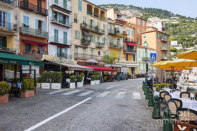 Waterfront Restaurants In Villefranche-sur-mer Print by Elena Elisseeva