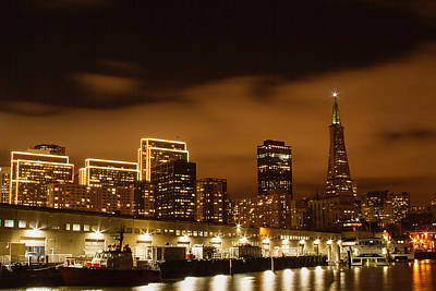 Photograph - Waterfront Skyline At Night by Bonnie Follett