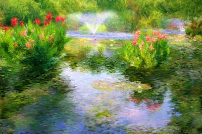 Canna Digital Art - Watergarden In Monet Style by Crystal Garner
