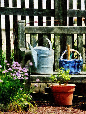 Watering Can And Blue Basket Art Print by Susan Savad