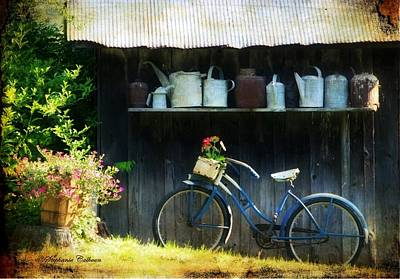 Photograph - Watering Cans And Gerbera Daisies by Stephanie Calhoun
