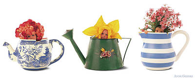 Floral Photograph - Watering Cans by Anne Geddes