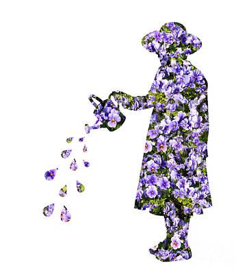 Pansies Photograph - Watering Flowers by Amanda Elwell