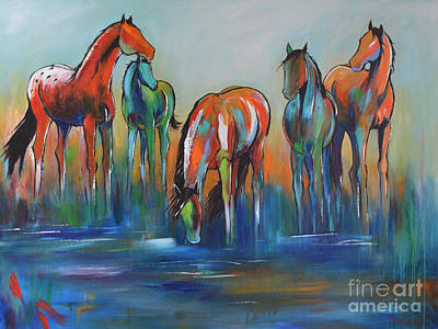 Art Print featuring the painting Watering Hole 5 by Cher Devereaux