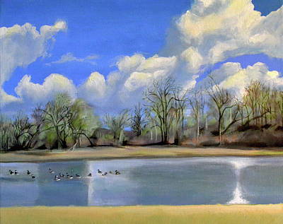 Canadian Geese Painting - Watering Hole With Geese by Mary Chant