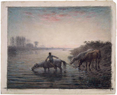 Sunset Painting - Watering Horses by MotionAge Designs