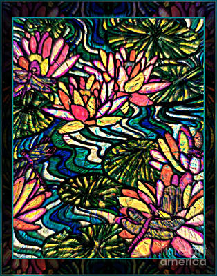 Mixed Media - Waterlilies And Dragonflies by Wbk