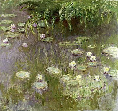 Reflecting Water Painting - Waterlilies At Midday by Claude Monet