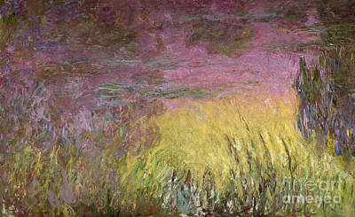 Waterlily Painting - Waterlilies At Sunset by Claude Monet