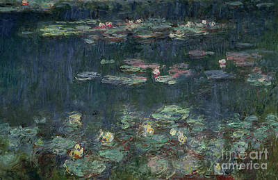 Floral Painting - Waterlilies Green Reflections by Claude Monet
