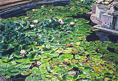 Painting - Waterlilies Huntington Fountain by David Lloyd Glover