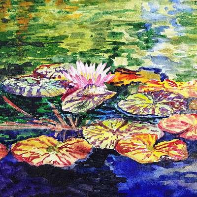 Lilies Royalty-Free and Rights-Managed Images - Waterlilies Impressionism by Irina Sztukowski