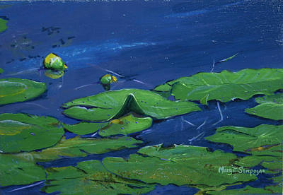 Art Print featuring the painting Waterlilies  by Margit Sampogna