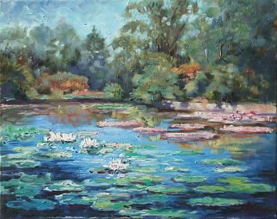 St. Louis Painting - Waterlilies Pond In Tower Grove Park by Irek Szelag