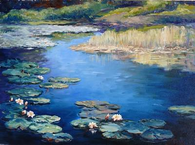 Flower Painting - Waterlilies Pond by Irek Szelag