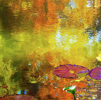 Autumn Landscape Mixed Media - Waterlilies by Sharon Eng