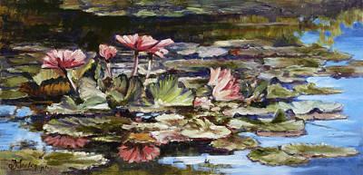 Flower Painting - Waterlilies Tower Grove Park by Irek Szelag