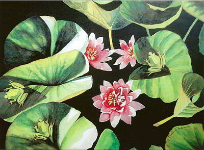 Waterlilies With Frogs Art Print