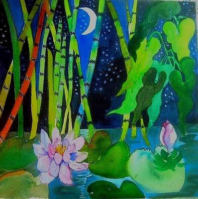 Painting - Waterlillies At Midnight by Esther Woods