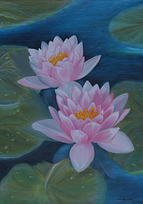 Lilly Pond Painting - Waterlillies by M S