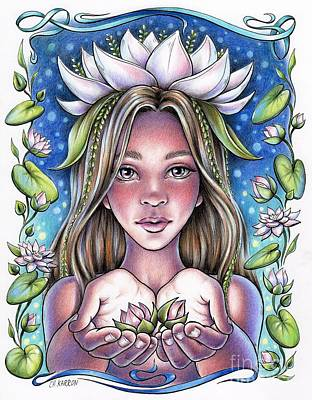 Drawing - Waterlily Fairy by Christine Karron
