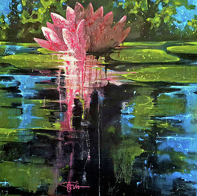 Lilly Pond Painting - Waterlily by Savio Mizzi