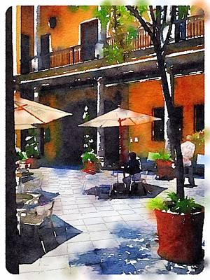 Patio Umbrellas Digital Art - Waterlogue - Cafe In The Patio ... by Pedro Vit