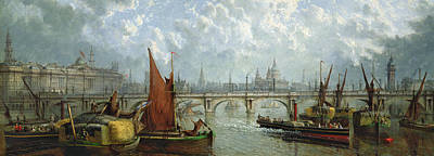English Scene Painting - Waterloo Bridge From The River Thames by John MacVicar Anderson
