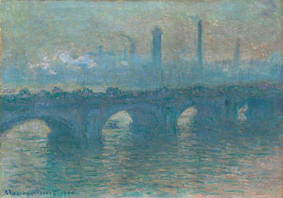 Crossing Painting - Waterloo Bridge, Gray Weather by Claude Monet