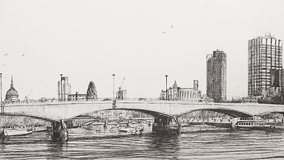 Boats In Water Drawing - Waterloo Bridge by Vincent Alexander Booth