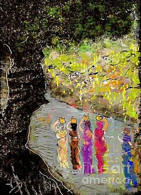 Digital Art - Watercarrying Indian Women by Subrata Bose