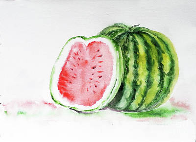 Painting - Watermelon And A Half by Asha Sudhaker Shenoy