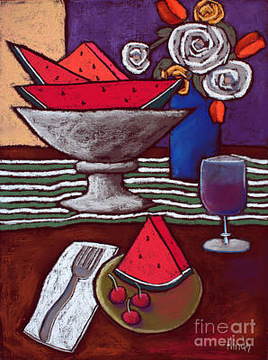 Self-taught Painting - Watermelon And Cherries by David Hinds
